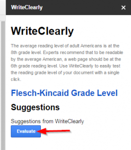 "WriteClearly Sidebar, display the ""Evaluate"" button"