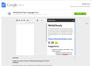 The WriteClearly add-on in the Chrome Web Store
